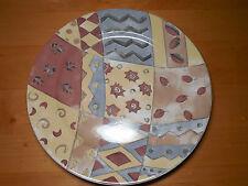 "Sango COFFEE SHOPPE 3062 Sue Zipkin 12"" Round Serving Platter Brown Tan"