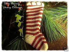 Sweet! Primitive Style Knit Baby Christmas Stocking Red & Cream Stripes Ornament