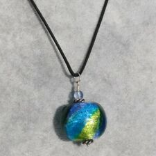 """Murano Glass Pebble, Vibrant Blue Colours with Silk rope 18"""" Chain"""