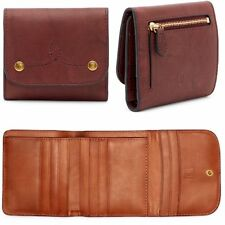 New $128.00 FRYE Campus Rivet Medium Leather Wallet Clutch Zipper Pocket Trifold