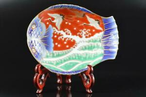 L1164: Japan Old Arita-ware Bird Fish-shaped ORNAMENTAL PLATE/Dish Fukagawa made