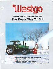 Equipment Brochure Ad - Westgo Snowblower for Deutz Farm Tractor Dx 130 (E4811)