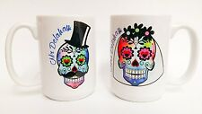 TATTOO SKULL Day of the dead rockabilly wedding mr and mrs giant 15oz mugs cups