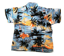 "Boy's loud Hawaiian shirt, for 10 year old, 36"" chest, GREY palms/ sunsets new"