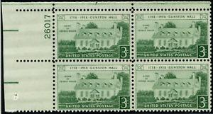 ALLY'S STAMPS US Plate Block Scott #1108 3c Gunston Hall [4] MNH [STK]