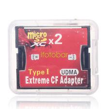 2 Slot TF MicroSD to Type I Compact Flash Card CF Reader Adapter f. Nikon Cannon