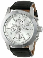 NEW JBW J6286A Men's Multi-Functional Diamond Accent Black Leather Band SS Watch