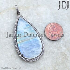 Natural Pave Diamond Rainbow Moonstone Pendant 925 Silver Jewelry Special Gifts