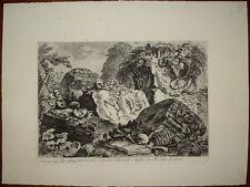 Piranesi CALCOGRAFIA 1870 skeleton skulls stampa antica teschi old print gravure
