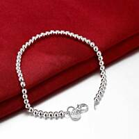 NEW 925 Sterling Silver Filled 4MM Classic Ball Beads Charm Bracelet Chain 17CM