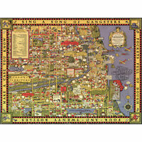 """1930s """"A Map of Chicago's Gangland"""" Vintage Style Pictorial Map 16x20"""