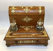 Antique Stationery Box Ink Wells Desk Stand Standish Oak And Brass Mounted