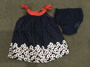 Baby Gap Blue Girls Dress Size 6-12months With Nappy Cover