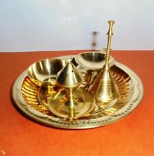 Hindu Puja Thali Brass Pooja Aarti Om Plate Prayer Bell Bowl Diya Agarbati stand