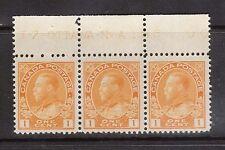 Canada #105d VF/NH Plate #186 Strip Of Three
