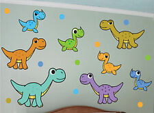 8 Dinosaurs and Dots Wall Decal Art Sticker Mural