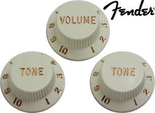 NEW! Genuine Fender USA Parchment Strat Volume Tone Knob Set of 3 (005-6254-049)