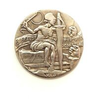 EXONUMIA MEDAL CROOKED JUSTICE 1923 / WEIMAR REPUBLIC / WW 1 / SILVERED  TOKEN