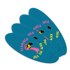 Flamingo All the Way Funny Humor Oval Nail File Emery Board 4 Pack
