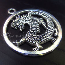 5PCs Asian Dragon Wholesale Silver Plated Pendant Charms - C8596