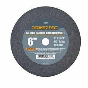 "POWERTEC 15508 1/2"" Arbor 150-Grit Silicon Carbide Grinding Wheel 6"" x 3/4"""