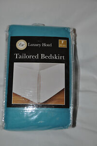 """Turquoise Luxury Hotel FULL Bed Skirt: Tailored Pleat, 14"""" Drop"""
