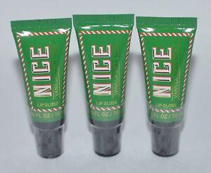3 BATH & BODY WORKS NICE VANILLA BEAN NOEL LIP GLOSS SHINE BALM STICK GREEN LOT