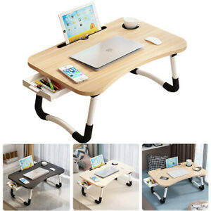 Laptop Sofa Bed Tray Table Lap Desk Folding Notebook Breakfast Cup Slot Drawer