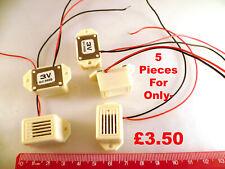 Buzzer 3-12Vdc Plastic Case with Flange 150mm Leads 5 Pieces OM0238C