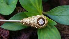 Antique 14k Yellow Gold & Diamond Stick Pin Hat Pin Estate Jewelry Signed