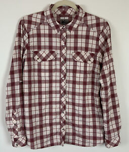 REI Co-op Women's Northway Plaid Shirt Roll Tab Long Sleeve Snap Front Size M