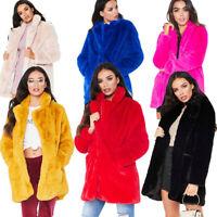 Women Long Sleeve Tops Ladies Lapel Faux Fur Jacket Coat Outwear Long Cardigan