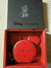 Disney x Coach MINNIE MOUSE Ears Leather Zip Coin Case Purse 37539B in Gift Box