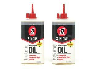 (2) 3-In-One Multi Purpose Oil Long Lasting Lubricant Precision Drip 3 oz Each