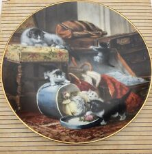 """Henriette Ronner Cat Collector Plate Mischief Hat Box Kittens Chair Purse 8.5"""""""