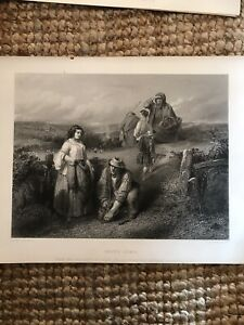 Antique 19th Century Etching Going Home - Rural Landscape With Pheasants