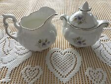 "Rosina Queen's ""Silver Wedding"" Anniversary Cream and Covered Sugar Bowl"
