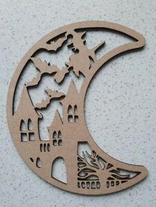 Wooden MDF Halloween Moon Craft Shape 150mm