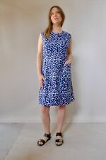 Vintage true 60s unused 3XL cotton plus size shift blue diamonds dress