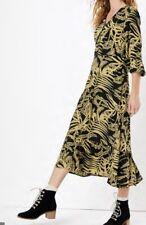 New Per Una By M&S ladies Leaf Front Frill Sleeve Midi Dress Size 18 Khaki