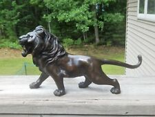 "BRONZE LION SCULPTURE STANDING ROARING 3 CHARACTER SEAL MARK ON BELLY 16"" ,6 LBS"