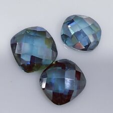 Cushion Rose Cut Loose Moissanite For Ring 2.49 Ct 9.24x 8.95 mm Vvs1 Blue Green