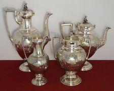 c1800's Renaissance Silver Plated Figural CASTLE Rim PUTTI Finial Tea Pot Set