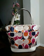 AUTHENTIC NWT COACH PARK HAND DRAWN SCARFT PRINT NORTH SOUTH TOTE  LARGE HANDBAG