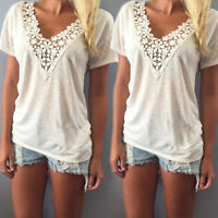 Women Lady Summer V-Neck Loose Casual Short Sleeve Lace Up T Shirt Tops Blouse