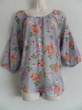 M & Co Grey Floral Print Tunic Top  - Size 10 - Bnwot