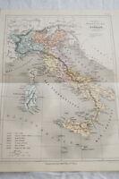 CARTE ANCIENNE COULEURS ITALIE PHYSIQUE POLITIQUE 1865 ATLAS BOUILLET R696