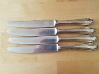 "4 ANTIQUE VINTAGE Collectible KNIVES 10"" PRUNUS SOLINGEN SILVER PLATE -ROSTFREI"