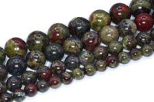 Natural Dragon Blood Jasper Beads Grade AAA Round Loose Beads 3/4/6/8-9/10MM