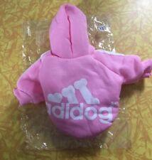 NEW in Package Pink Girls Dog Clothes Sz XS ADIDOG Sweatshirt Adidas Hoodie